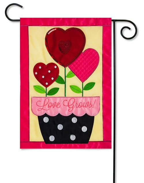 "Love Grows Applique Valentine Garden Flag - 12.5 ' x 18"" - Evergreen - 2 Sided Message"