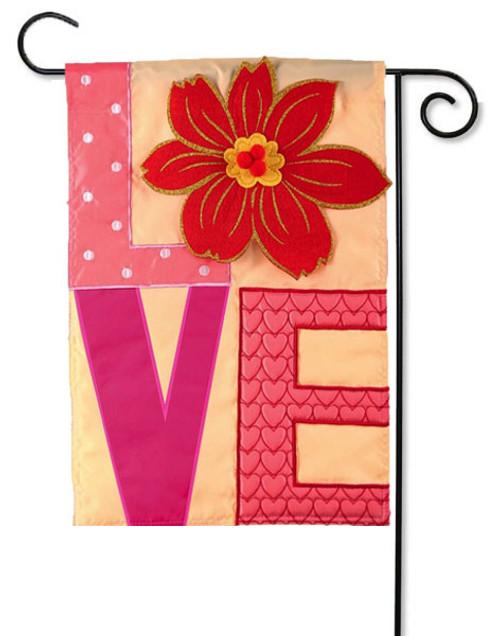 """Love Applique Valentine Garden Flag - 12.5 ' x 18"""" - Evergreen - 2 Sided Message"""