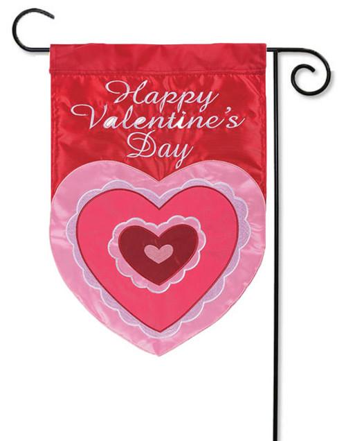 """Valentine Heart Applique Valentine Garden Flag - 13"""" x 18"""" - Flag Trends  - 2 Sided Message"""