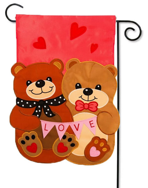 "Love Bears All Things Applique Valentine Garden Flag - 12.5 ' x 18"" - Evergreen - 2 Sided Message"