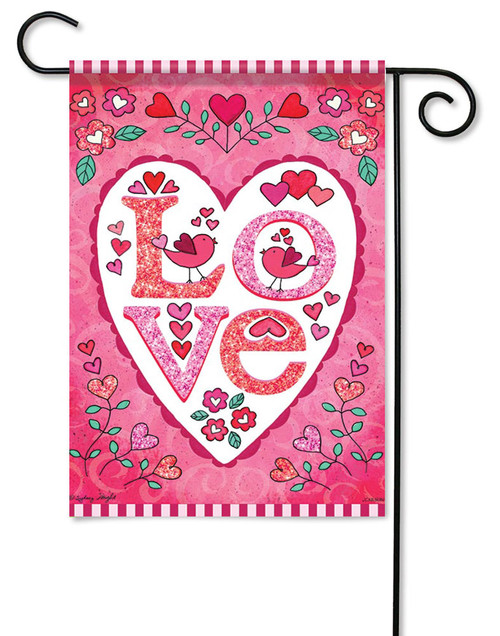 "Love Heart Valentine Garden Flag - 13"" x 18"" - Flag Trends - Glitter - 2 Sided Message"