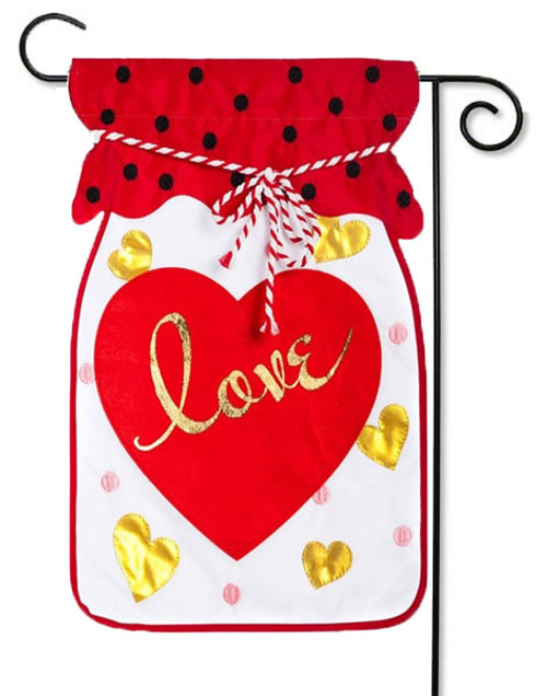 "Jar of Love Applique Valentine Garden Flag - 12.5 ' x 18"" - Evergreen - 2 Sided Message"