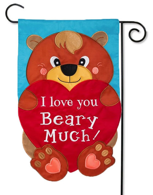 "I Love You Beary Much Applique Valentine Garden Flag - 12.5"" x 18"" - Evergreen - 2 Sided Message"