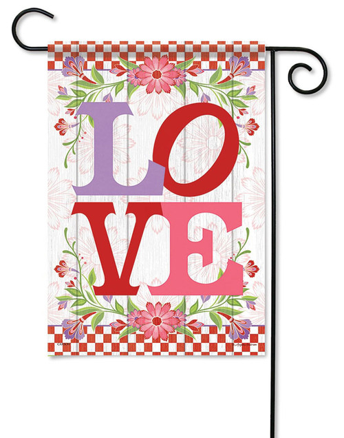 "L-O-V-E Valentine Garden Flag - 13"" x 18"" - Flag Trends  - 2 Sided Message"