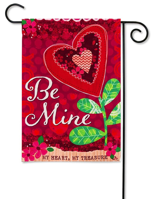 "Be Mine Valentine Decorative Garden Flag - 12.5 ' x 18"" - Evergreen - 2 Sided Message"