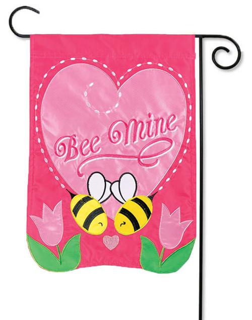 "Bee Mine Applique Valentine Garden Flag - 13"" x 18"" - Flag Trends - 2 Sided Message"