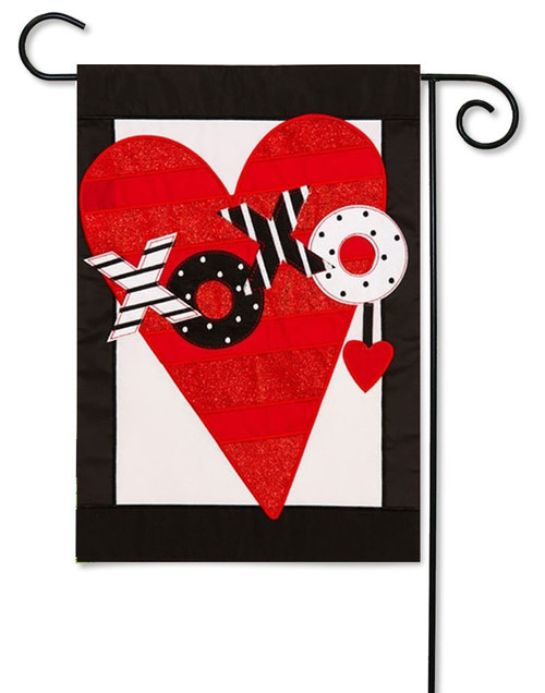 "Valentine's Heart Applique Garden Flag - 12.5 ' x 18"" - Evergreen - 2 Sided Message"