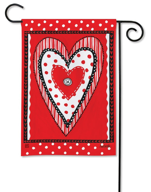 """Button Valentine Garden Flag - 12.5"""" x 18"""" - BreezeArt"""