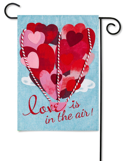 "Love is in The Air Valentine Burlap Garden Flag - 12.5 ' x 18"" - Evergreen - 2 Sided Message"
