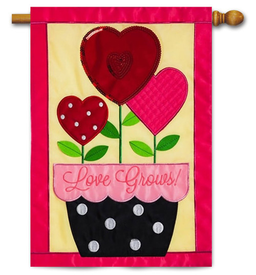 "Love Grows Applique Valentine House Flag - 28"" x 44"" - Evergreen"