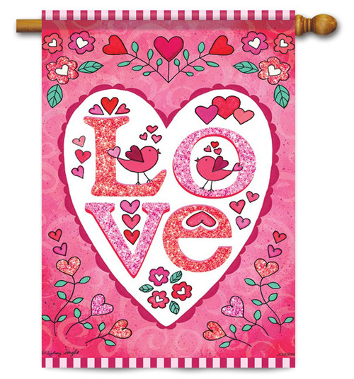 "Love Heart Valentine House Flag - 28"" x 40"" - Flag Trends"