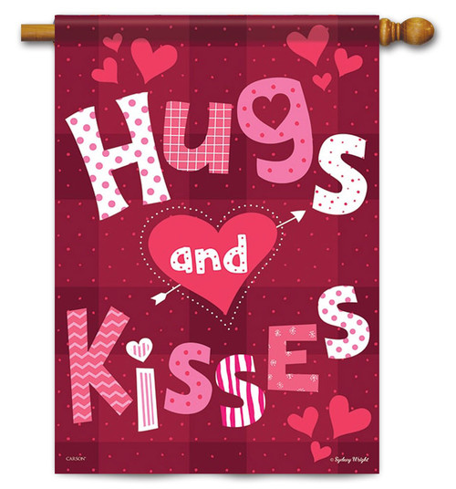 "Hugs & Kisses Valentine House Flag - 28"" x 40"" - Flag Trends"