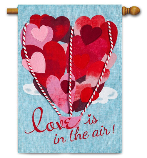 "Love is in The Air Burlap Valentine House Flag - 28"" x 44"" - Evergreen"