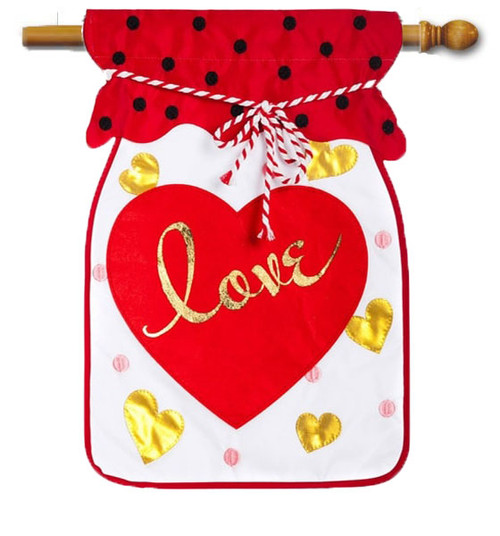 "Jar of Love Applique Valentine House Flag - 28"" x 44"" - Evergreen"