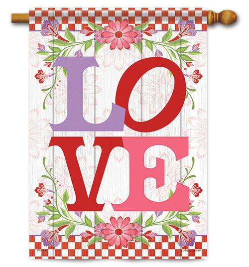 """L-O-V-E Valentine House Flag - 28"""" x 40"""" - Flag Trends"""