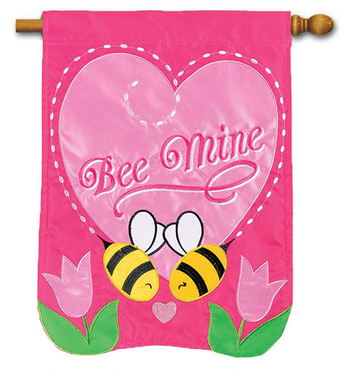 "Bee Mine Applique Valentine House Flag - 28"" x 40"" - Flag Trends"