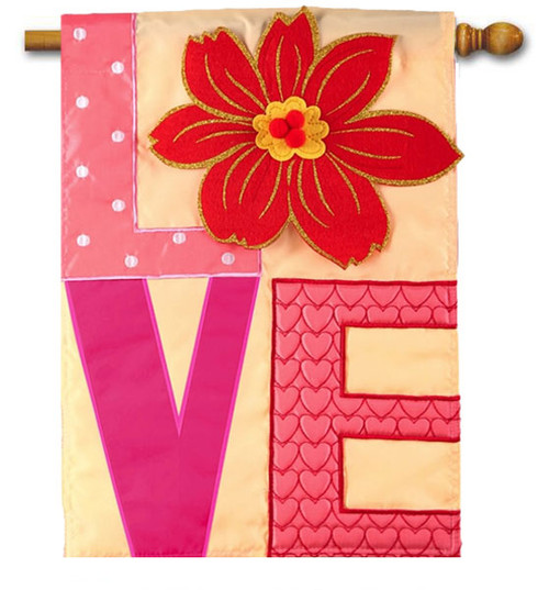 "Love Applique Valentine House Flag - 28"" x 44"" - Evergreen"