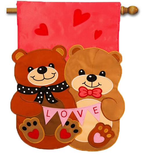 "Love Bears All Things Applique Valentine House Flag - 28"" x 44"" - Evergreen"