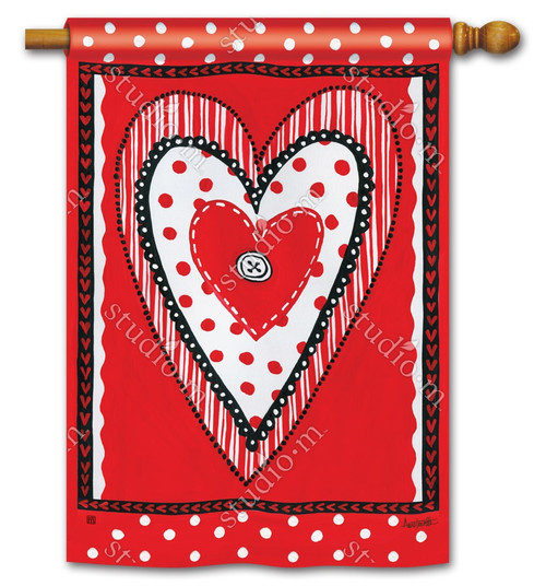 "Button Valentine House Flag - 28"" x 40"" - BreezeArt"