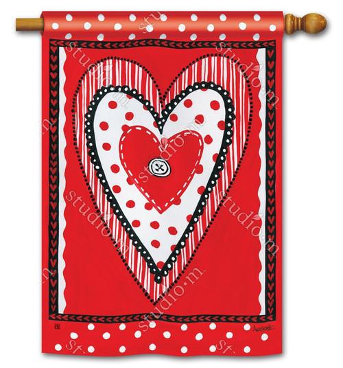 "Button Valentine House Flag - 28"" x 40"" - BreezeArt"