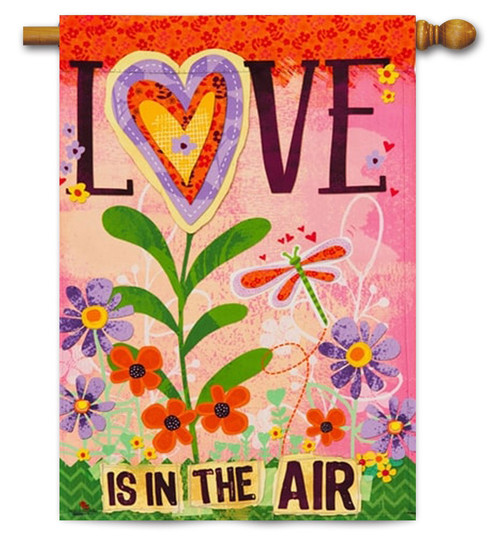 "Love is in the Air Valentine House Flag - 29"" x 43"" - Evergreen"
