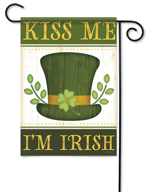 "Kiss Me I'm Irish Garden Flag - 13"" x 18"" - Flag Trends - 2 Sided Message"