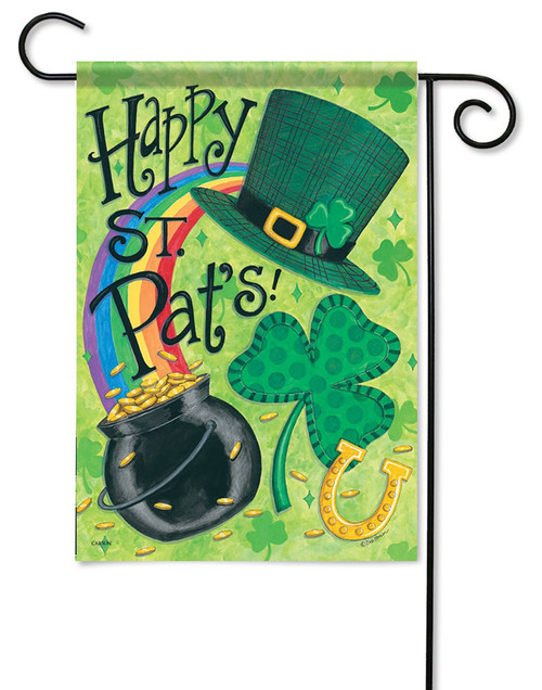 "St Pat's Fun Garden Flag - 13"" x 18"" - Flag Trends - 2 Sided Message"
