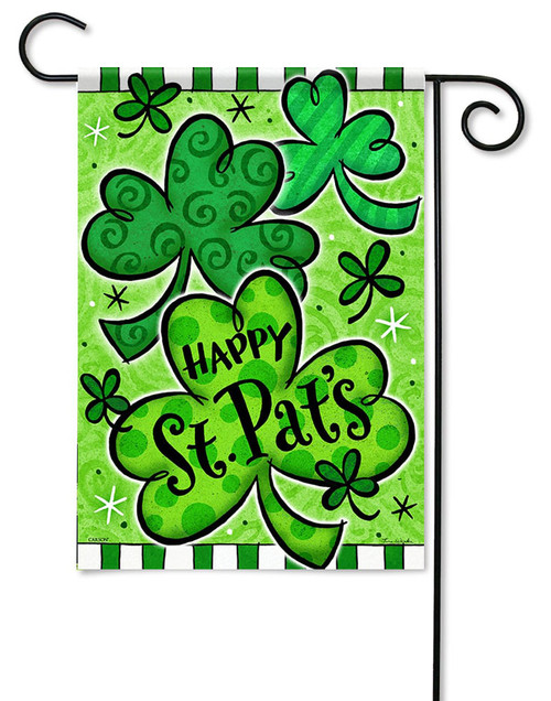 "Happy Shamrocks Garden Flag - 13"" x 18"" - Flag Trends - 2 Sided Message"