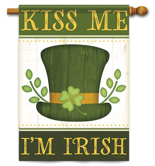 "Kiss Me I'm Irish St. Pat's House Flag 28"" x 40"" - Flag Trends - 2 Sided Message"
