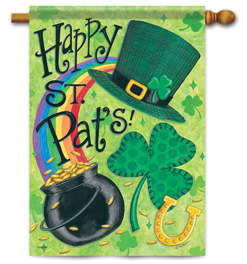 "St. Pat's Fun Decorative House Flag 28"" x 40"" - Flag Trends - 2 Sided Message"