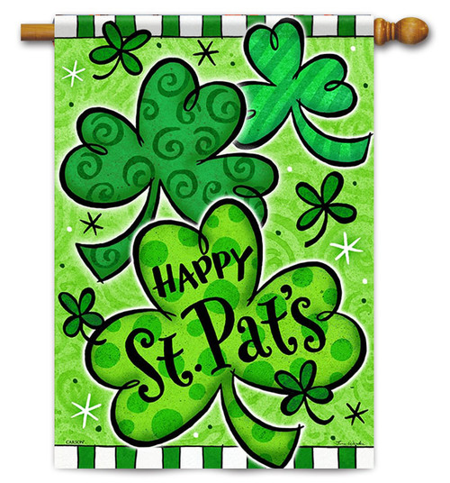 "Happy Shamrocks House Flag 28"" x 40"" - Flag Trends - 2 Sided Message"