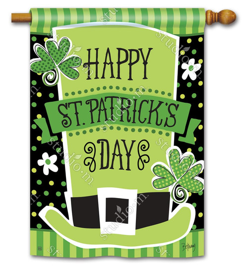 "St. Pat's Shamrocks House Flag 28"" x 40"" - BreezeArt"