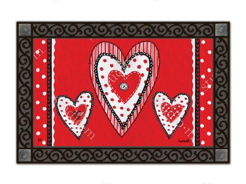 """Button Valentine MatMates Doormat - 18"""" x 30"""""""