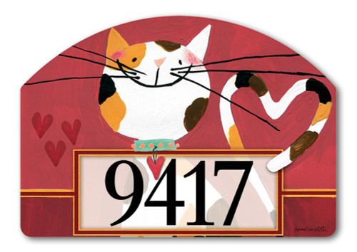 "Sweet Kitty Valentine's Day Yard DeSign Address Sign - 14"" x 10"""