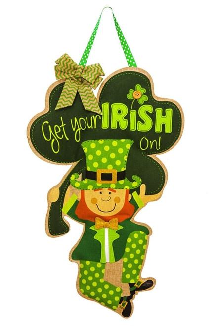 Get Your Irish On Burlap St. Patrick's Day Door Decor