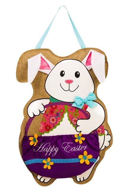 Easter Bunny and Basket Burlap Door Decor