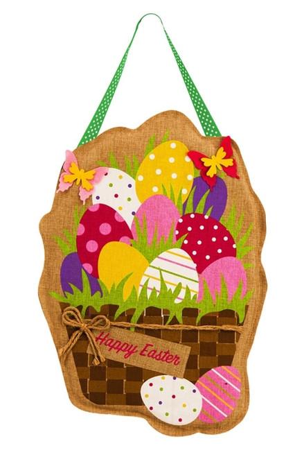 Easter Eggs in Basket Burlap Door Decor