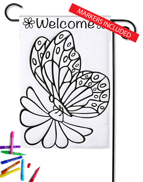 "Butterfly Color Me Applique Garden Flag - 12.5"" x 18"" (markers included)"