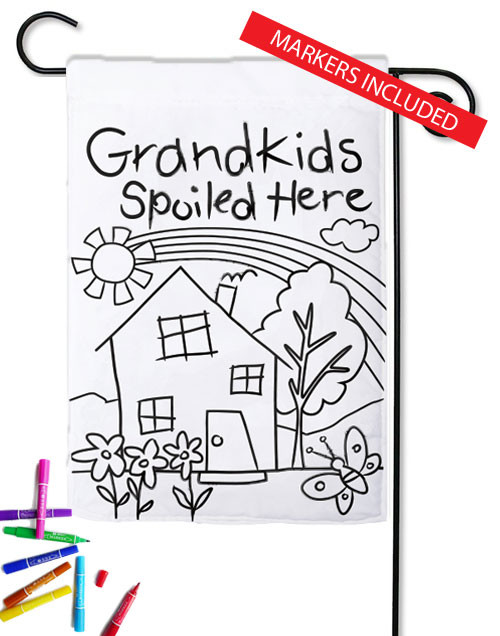 "Grandkids Spoiled Here Color Me Applique Garden Flag - 12.5"" x 18"" (markers included)"