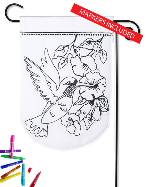 "Hummingbird Color Me Applique Garden Flag - 12.5"" x 18"" (markers included)"