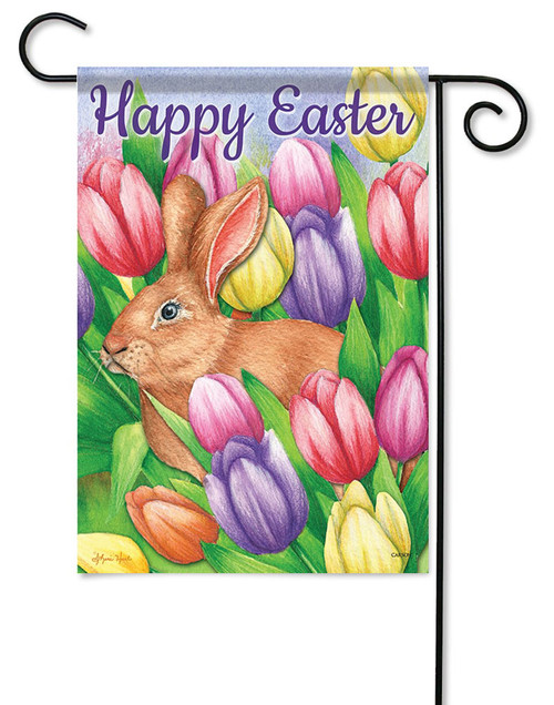 "Bunny Crossing Easter Garden Flag - 13"" x 18"" - 2 Sided Message"