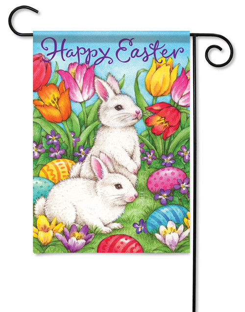 "White Bunnies Easter Garden Flag - 13"" x 18"" - 2 Sided Message"