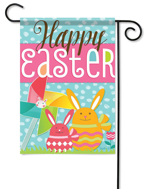 "Egg Bunnies Easter Garden Flag - 13"" x 18"" - 2 Sided Message"