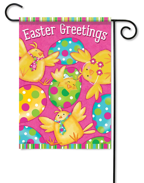 "Easter Greetings Chicks Garden Flag - 13"" x 18"" - 2 Sided Message"