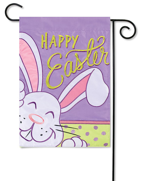 "Big Bunny Ears Applique Easter Garden Flag - 13"" x 18"" - 2 Sided Message"
