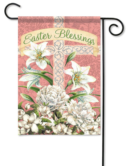 "Easter Blessings Cross Garden Flag - 13"" x 18"" - 2 Sided Message - Glitter"