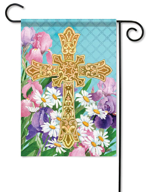 "Easter Flowers Cross Garden Flag - 13"" x 18"" - 2 Sided Message"
