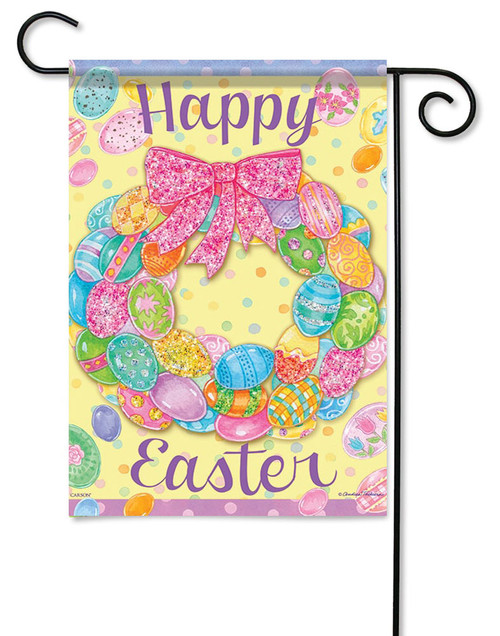 "Egg Wreath Easter Garden Flag - 13"" x 18"" - 2 Sided Message - Glitter"
