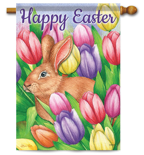"Bunny Crossing Easter House Flag - 28"" x 40"" - 2 Sided Message"