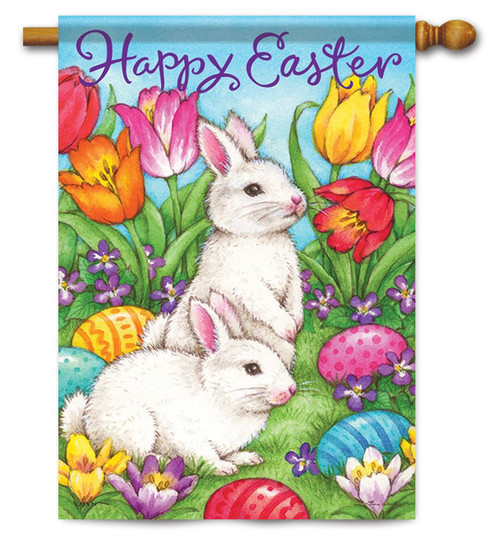 "White Bunnies Easter House Flag - 28"" x 40"" - 2 Sided Message"